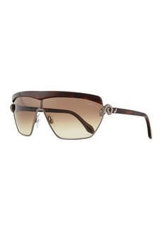Roberto Cavalli Metal Shield Sunglasses, Gunbrown