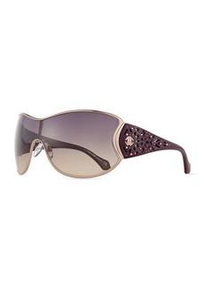Roberto Cavalli Metal Shield Sunglasses w/ Laser-Cut Arms, Plum