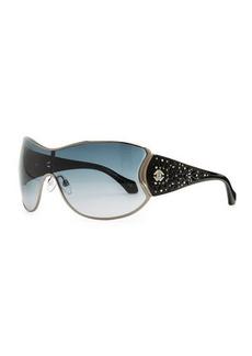 Roberto Cavalli Metal Shield Sunglasses with Lattice, Gunmetal/Smoke