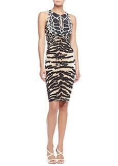 Roberto Cavalli Mixed Animal-Print Sheath Dress