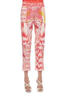 Roberto Cavalli Mixed-Print Pants, Coral/Multicolor