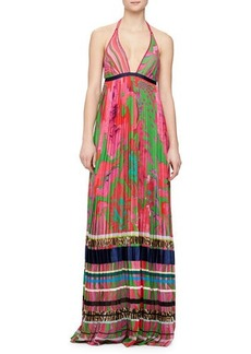 Roberto Cavalli Mixed-Print Striped Plisse Gown