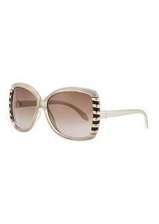 Roberto Cavalli Oversized Acetate Line Design-Temple Sunglasses, Beige