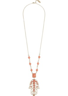 Roberto Cavalli Pietre Dure gold-plated coral bead hamsa necklace