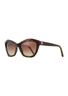 Roberto Cavalli Plastic Square Snake-Print Sunglasses, Gray/Brown