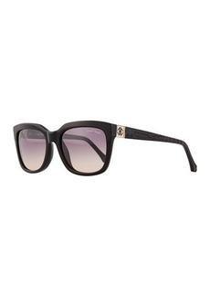 Roberto Cavalli Plastic Square Sunglasses, Black/Gray