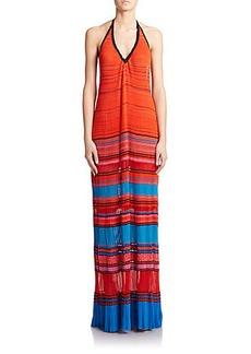 Roberto Cavalli Pleated Knit Maxi Dress