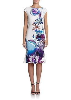 Roberto Cavalli Printed Cap-Sleeve Flounce Dress
