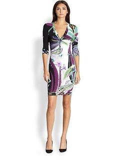 Roberto Cavalli Printed Jersey Sheath Dress