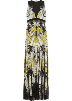 Roberto Cavalli Printed silk-chiffon and lace gown