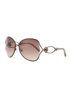 Roberto Cavalli Round Acetate Jewel/Crystal-Temple Sunglasses