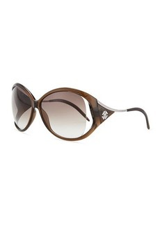 Roberto Cavalli Round Metal-Temple Sunglasses, Transparent Brown