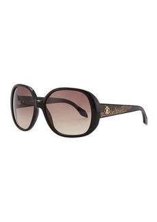 Roberto Cavalli Round Sunglasses, Shiny Black