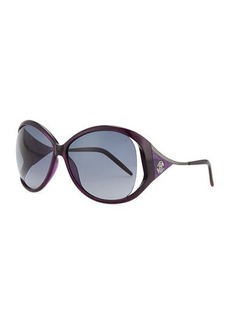 Roberto Cavalli Round Tortoise Shell-Temple Sunglasses, Violet