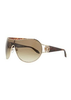 Roberto Cavalli Shield Havana-Temple Sunglasses, Rose Gold/Brown