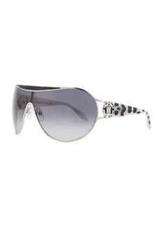 Roberto Cavalli Shield Leopard Print-Temple Sunglasses, Shiny Palladium