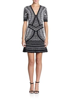 Roberto Cavalli Short-Sleeve Jacquard Knit Dress