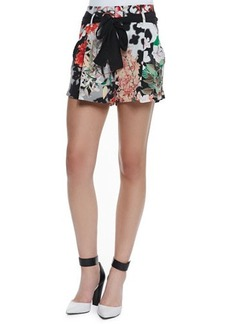 Roberto Cavalli Silk Floral-Print Sash-Tie Shorts