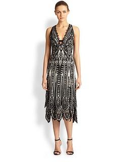 Roberto Cavalli Silk Paneled-Hem Dress