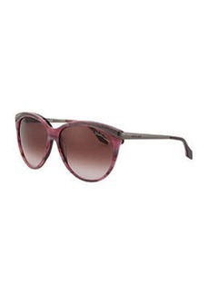 Roberto Cavalli Slight Cat Eye Sunglasses, Plum/Striped Pink