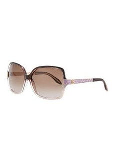 Roberto Cavalli Square Acetate Jeweled-Temple Sunglasses, Purple/Brown