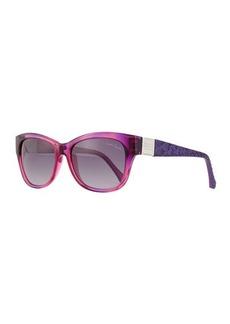 Roberto Cavalli Square Injected Sunglasses, Violet/Smoke