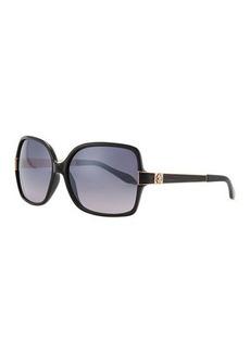 Roberto Cavalli Square Jeweled-Temple Sunglasses, Black