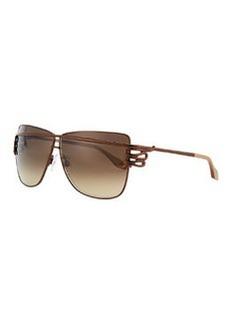 Roberto Cavalli Square Serpent-Temple Sunglasses, Shiny Brown