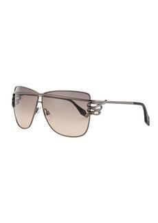 Roberto Cavalli Square Serpent-Temple Sunglasses, Shiny Gunmetal