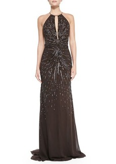 Roberto Cavalli Starburst Beaded Gown with Keyhole