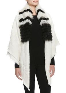 Roberto Cavalli Striped-Fur-Collar Wrap
