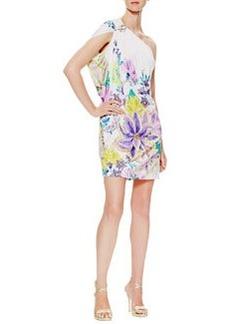 Roberto Cavalli Surya One-Shoulder Pin-Detail Dress