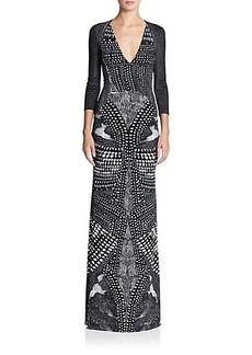 Roberto Cavalli Three-Quarter Sleeve Printed Gown