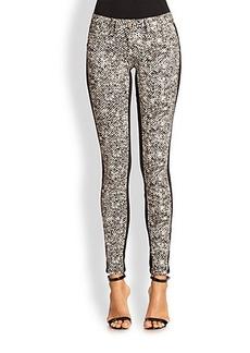 Roberto Cavalli Tweed-Print Skinny Jeans