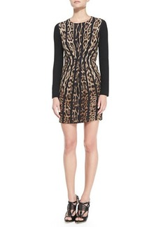 Roberto Cavalli Vertical Leopard-Print Long-Sleeve Dress