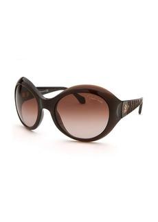 Roberto Cavalli Women's Aladfar Oversized Translucent Brown Sunglasses