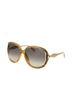 Roberto Cavalli Women's Banyan Oversized Champagne Sunglasses Blue Lens