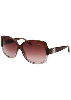 Roberto Cavalli Women's Ginestra Square Brown and Grey Sunglasses