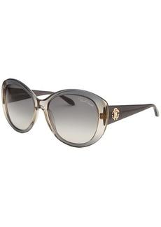 Roberto Cavalli Women's Temoe Round Translucent Grey Sunglasses