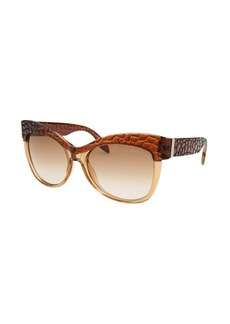 Roberto Cavalli Women's Teti Round Beige Translucent & Brown Sunglasses