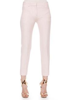 Roberto Cavalli Wool-Linen Ankle Pants, Blush