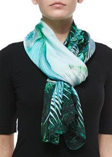 Tropical-Print Silk Scarf   Tropical-Print Silk Scarf
