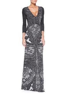 V-Neck Armadillo-Print Gown, Black/White   V-Neck Armadillo-Print Gown, Black/White