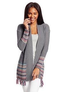 Roxy Juniors Near Future Fringe Long Cardigan Printed Sweater