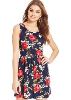 Ruby Rox Juniors' Floral-Print Back Cutout Dress