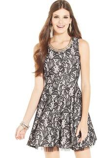 Ruby Rox Juniors' Lace Jewel-Trim Dress