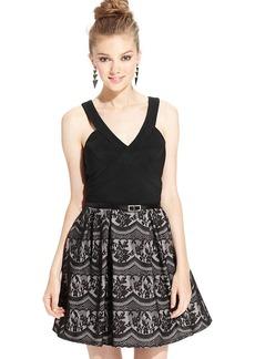 Ruby Rox Juniors' Paneled Lace A-Line Dress
