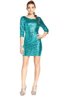 Ruby Rox Juniors' Three-Quarter-Sleeve Sequin Dress