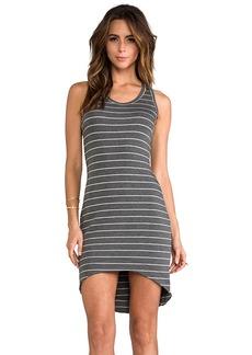 Saint Grace Moby Stripe Jo Hi-Low Tank Dress in Charcoal