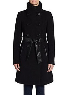 Saks Fifth Avenue BLACK Belted Double-Breasted Wool Coat